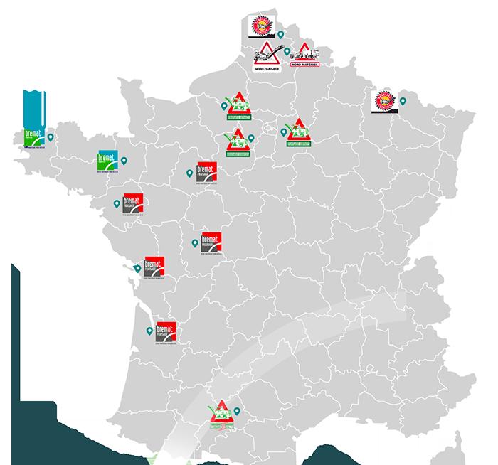 Localisation sur carte des sites Bremat en France